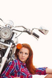 young woman on a motorcycle Stock Photography