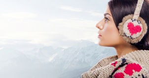 Young woman on the mountain Royalty Free Stock Photography