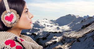Young woman on the mountain Stock Photos
