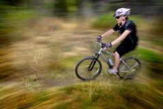 Young Woman Mountain Biking Stock Photography