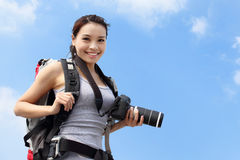 Young woman mountain hiker Stock Photo