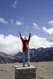 Young woman on mountain peak stock image