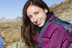 Young woman on a mountain trip Royalty Free Stock Images