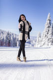 Young woman on the mountain in winter Stock Photography