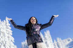 Young woman on the mountain at winter Royalty Free Stock Photo