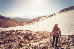 Young Woman mountaineering outdoor Travel Lifestyle Stock Photo