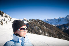 Young woman on mountains Royalty Free Stock Images