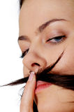 Young woman with moustache Royalty Free Stock Images