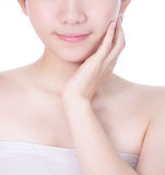 Young woman mouth lips and hand touch face Stock Image