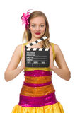 Young woman with movie board isolated Stock Photos