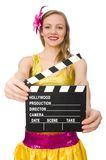 Young woman with movie board Royalty Free Stock Image