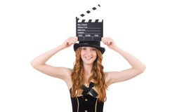 Young woman with movie board Royalty Free Stock Photos