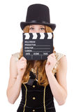 Young woman with movie board Stock Images