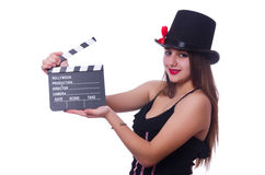 Young woman with movie board Stock Photography