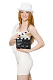 Young woman with movie board Royalty Free Stock Photography