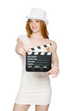 Young woman with movie board Stock Image