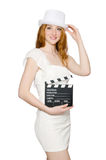 Young woman with movie board Royalty Free Stock Images