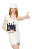 Young woman with movie board Stock Photos