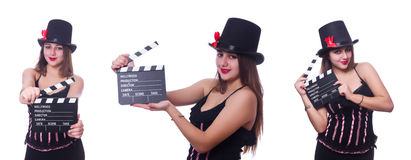 The young woman with movie board on white Stock Photo