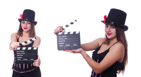 The young woman with movie board on white Royalty Free Stock Image