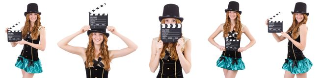The young woman with movie board on white Royalty Free Stock Photos