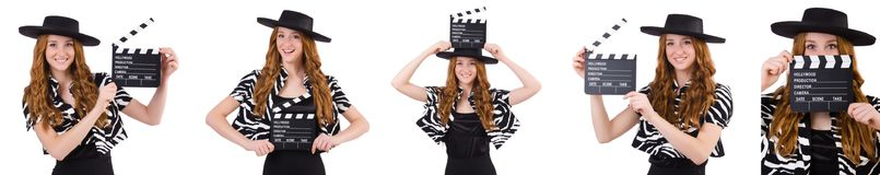 The young woman with movie clapboard isolated on white Stock Image