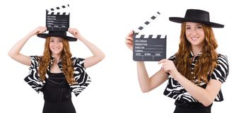 The young woman with movie clapboard isolated on white Stock Photos