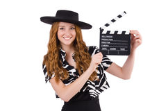 Young woman with movie clapboard. Isolated on white Royalty Free Stock Photography