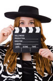 Young woman with movie clapboard Stock Photos