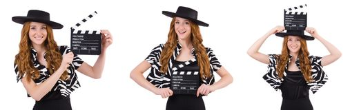 The young woman with movie clapboard isolated on white Stock Photography