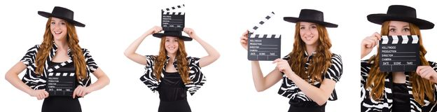 The young woman with movie clapboard isolated on white Royalty Free Stock Photography