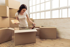 Young woman moving Stock Photo