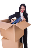 Young woman moving jobs isolated Royalty Free Stock Images