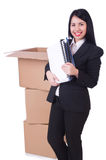 Young woman moving jobs isolated Stock Images
