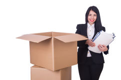 Young woman moving jobs Royalty Free Stock Photography