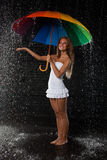 Young woman with multi-coloured umbrella. Royalty Free Stock Photography