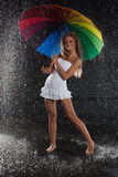 Young woman with multi-coloured umbrella. Stock Images