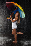 Young woman with multi-coloured umbrella. Royalty Free Stock Photos