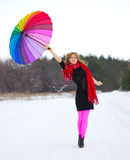 Young woman with multicolor umbrella Royalty Free Stock Photo