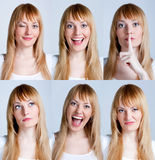Young woman with multiple face Stock Photos