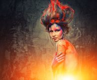 Young woman muse with body art. Young woman muse with creative body art and hairdo Stock Images
