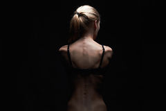 Young woman with naked back.sport body girl Royalty Free Stock Photos