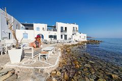 Young woman in Naousa of Paros, Greece. Young woman in Naousa of Paros island, Greece Stock Photos