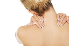 Young woman with nape pain. Stock Images