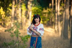 Young woman in national ukrainian clothes Royalty Free Stock Image