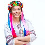 Young woman  in the national Ukrainian costume Royalty Free Stock Photography