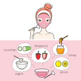 Young Woman With Natural Facial Mask Royalty Free Stock Photo
