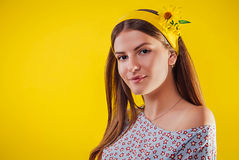 Young woman with natural makeup and smooth skin. Organic cosmetics concept Stock Images