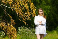 Young woman on nature. Royalty Free Stock Photo