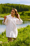 Young woman on nature. Stock Photography